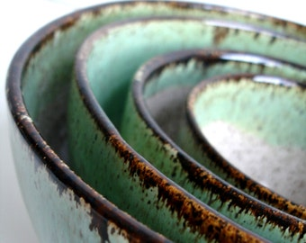 Handmade Wheel Thrown Stoneware Nested Bowls Set - Made To Order
