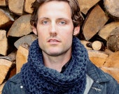 The Light House Keeper cowl Mens nautical winter scarf Nautical Navy Blue
