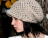 Rasta Love chunky Wool oversized Beret Hat slouch natural Cream white