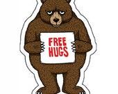 Free Hugs Bear Die Cut Vinyl Sticker