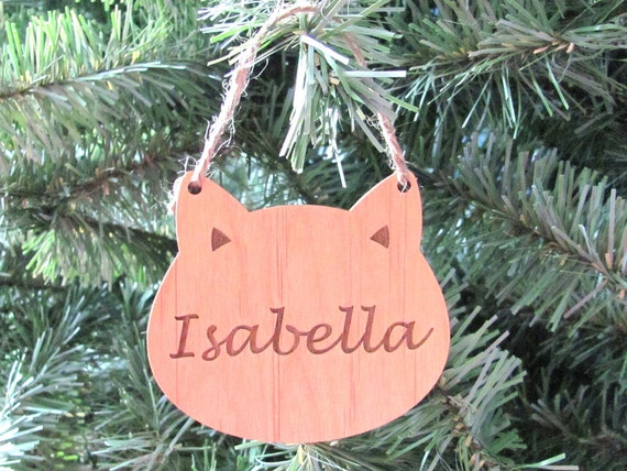 Cat Face Ornament - Personalized Wooden Ornament