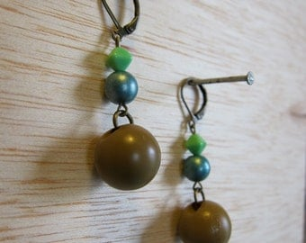 Vintage Button Brass Dangle Earrings by Tiny Marie