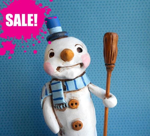 SALE Winter Decoration Snowman on Snow Blocks and Broom - clay  folk art sculpture