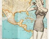 Spring Break - Vintage Maps - Bahamas - Florida - Costa Rica - Mexico - Virgin Islands - Puerto Rico - Bermuda - Handmade Collage Card