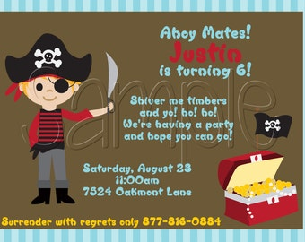 25 5x7 Boy Pirate Birthday Party Invitations