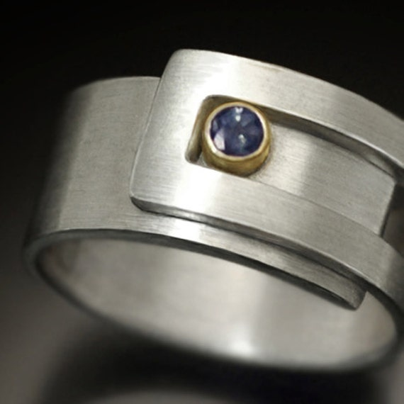 Alexandrite strap ring,  Argentium Sterling silver and 14k gold