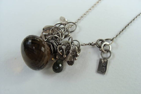 Whiskey and Tourmalated Quartz Silver Artisan Charm Necklace