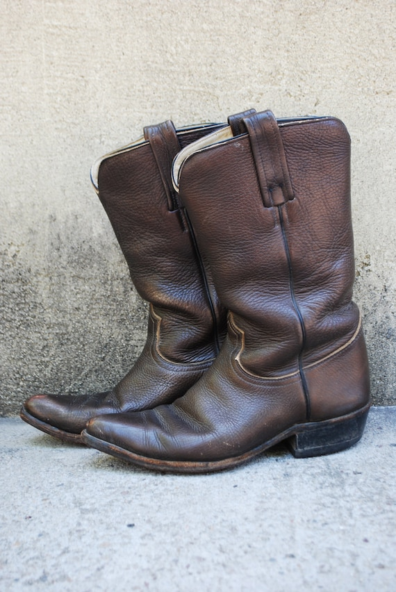 Vintage Chocolate Brown Leather Frye Western Boots (size 7 1/2 D)