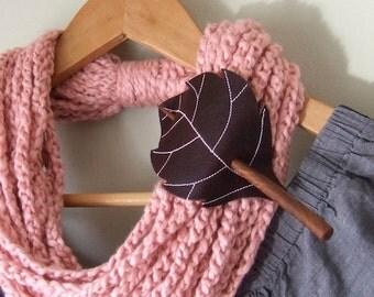 Leaf Hair Stick Barrette - Eco Friendly Leather - Reddish Brown