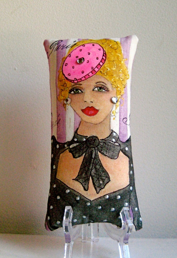 FIFI LA FEMME Skinni Mini  Hand Painted Pillow and Quote  (Born free ... now I'm expensive.)