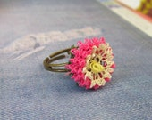 20% off SALE  Chrysanthemum ring, made from oya turkish needlace, in antique pink and cream
