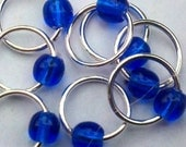 Snagless cobalt (M) silver stitch markers