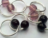 Goth girl (M) silver lace stitch markers