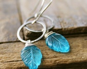 Swiss Blue Quartz Carved Leaves wire wrapped sterling silver earrings Modern Seven jewelry