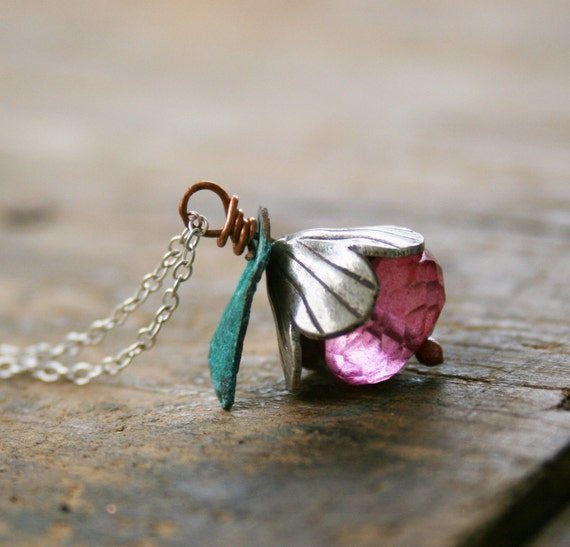 A Karen Silver flower bead cap, a faceted pink quartz rondelle, verdigris leaf, sterling silver chain, Petite Necklace