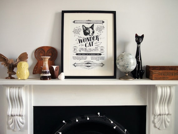 SALE! Wonder Cat  - Vintage style screenprint poster