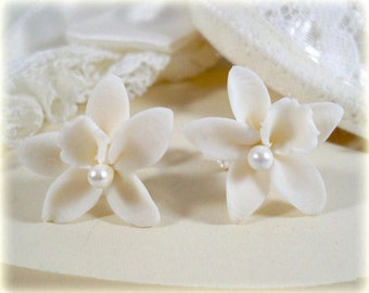 White Orchid Pearl Earrings Stud or Clip On - Orchid Jewelry
