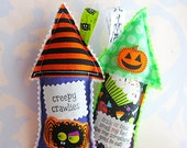 Whimsical Stuffed Fabric House Halloween Pillow Ornaments Set of Two