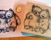 Teddy bear couple 3.5x3.25 rubber stamp P1