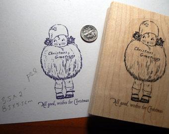 Vintage Christmas postcard image rubber stamp WM