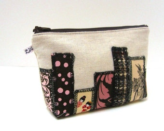 Zipper Pouch - Skyscrapers in Brown Pink and Yellow on Natural Linen