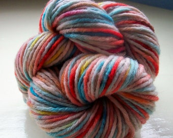 Hand painted pure wool yarn 50g  turquoise blue coral pink Carnival by SpinningStreak