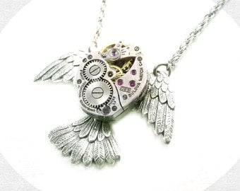 Steampunk Necklace - Antique Silver Flying Bird Lady Watch Movement Necklace