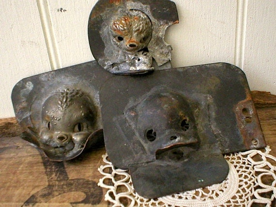 3 Industrial molds copper bronze, animal doll squeaker toy - 50s Sun Rubber Co. Akron Ohio
