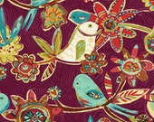 Bird Vine Fabric Plum