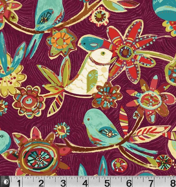 Bird Vine Fabric Plum