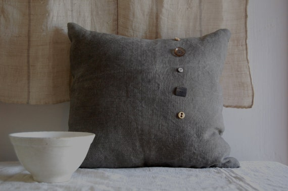 RESERVED FOR GAVIN vespertine cushion with vintage buttons and textile