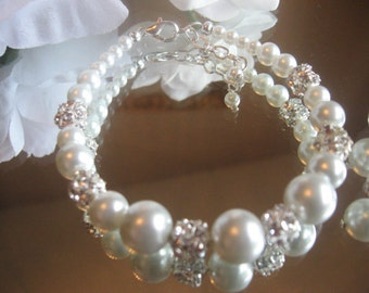Pearl and Rhinestone Bracelet and Earring Set/Pearl Wedding Jewelry/Bride or Bridesmaid Pearl Jewelry Set