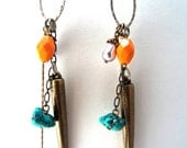 Jangle Mixer Earrings - (brass spike cluster glass fruit gunmetal tangerine dream tough conglomerate sexy haphazard turquoise)