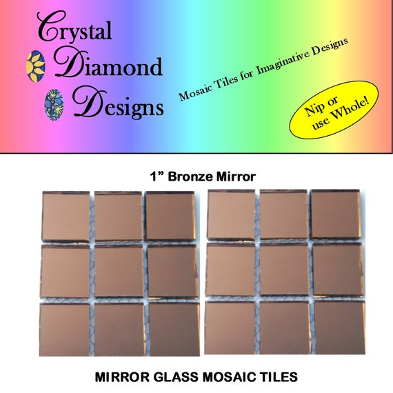items similar to 12 1 inch bronze mirror glass mosaic tiles brom on etsy. Black Bedroom Furniture Sets. Home Design Ideas