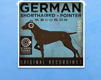 German Shorthaired Pointer Records original vintage style graphic art giclee archival signed print by Stephen Fowler