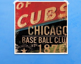 Chicago Baseball Wrigley Field baseball art signed artist's print by stephen fowler
