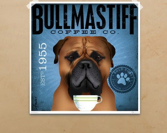 Bullmastiff Coffee Company original graphic art giclee print by stephen fowler