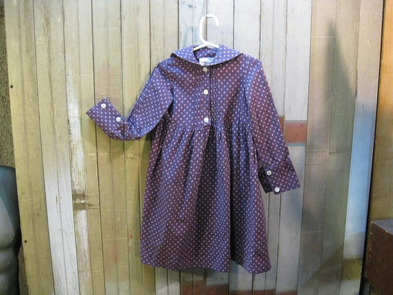 Laura Ashley Sailor Girl nautical childrens vintage dress Purple calico S 2 3