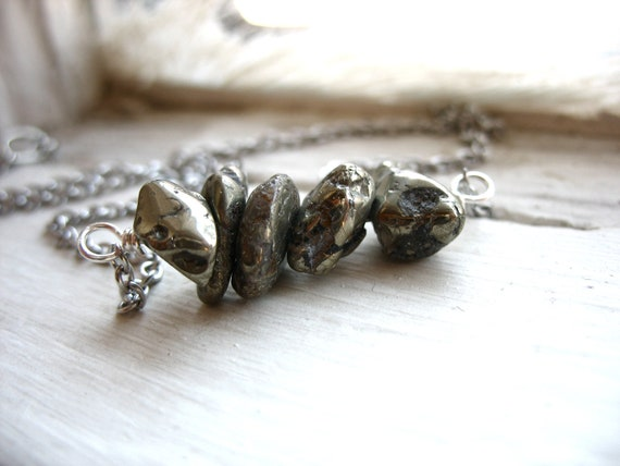 Pyrite Necklace, Pyrite Stone Necklace, Fools Gold Stone Necklace, Handmade Jewelry, FREE Shipping