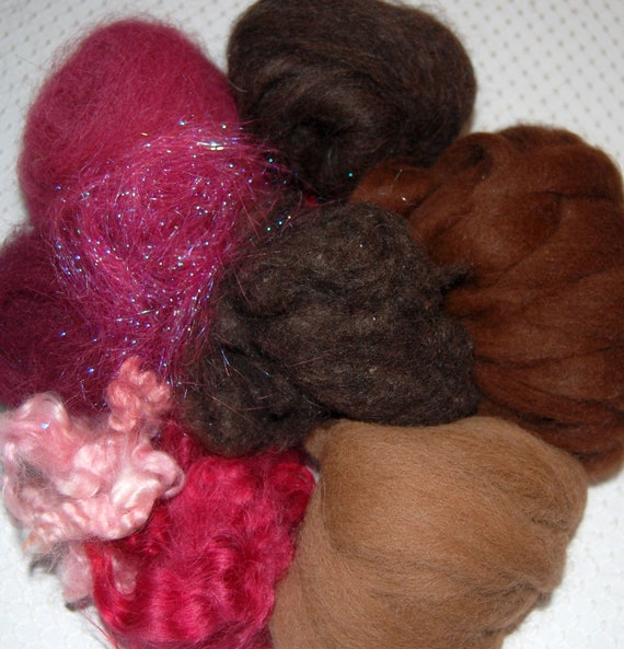 Spinning Fiber, Alpaca Roving, Llama Fiber, Cotswold Wool Locks, Yak, Angelina, Shades of Brown and Vermillion 3 1/2 oz.