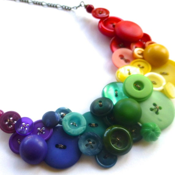 Huge Button Bib Statement Necklace - Bold Bright Colorful Rainbow