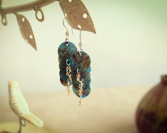 Blue Mother of Pearl Earrings w/Honey colored Swarovski Crystals and Sterling Silver Ear Wires