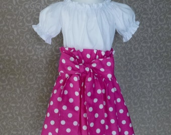 Pink Girl Dress, Little Girl Dresses In Pink With Polka Dots Hot Pink Polka Dots Skirt