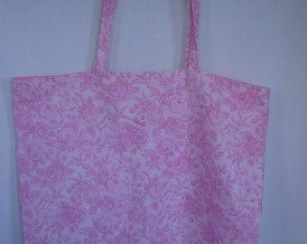 Large Tote-Pink Flowers on Pink (Bag 418)