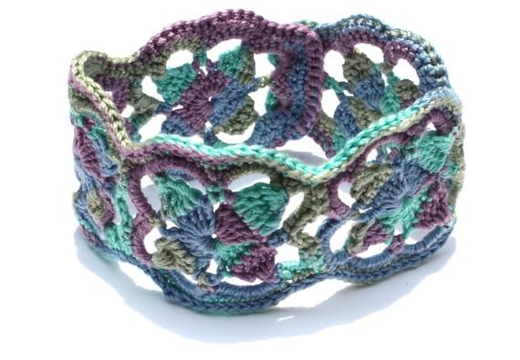 Lacy Crochet Bracelet, Jewelry Bracelet, Iriish Crochet, Fiber Bracelet, Everyday Jewelry, Gift for her, Teacher Gift, in Jewel Tones