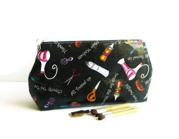 Makeup Bag Travel Pouch Laminated Flat bottom, Zipper Closure, Large -Black Pink Orange White Clippity Doo