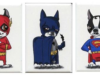 Boston Terrier Justice League Magnet Set