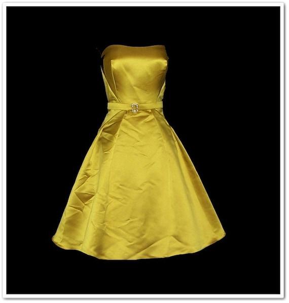 NOS Vintage 90s Mustard Strapless Sparkle Prom Dress L