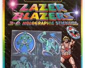 Vintage 1983 Masters of the Universe He-Man Lazer Blazers by Colorforms 3-D Holographic Stickers NIP