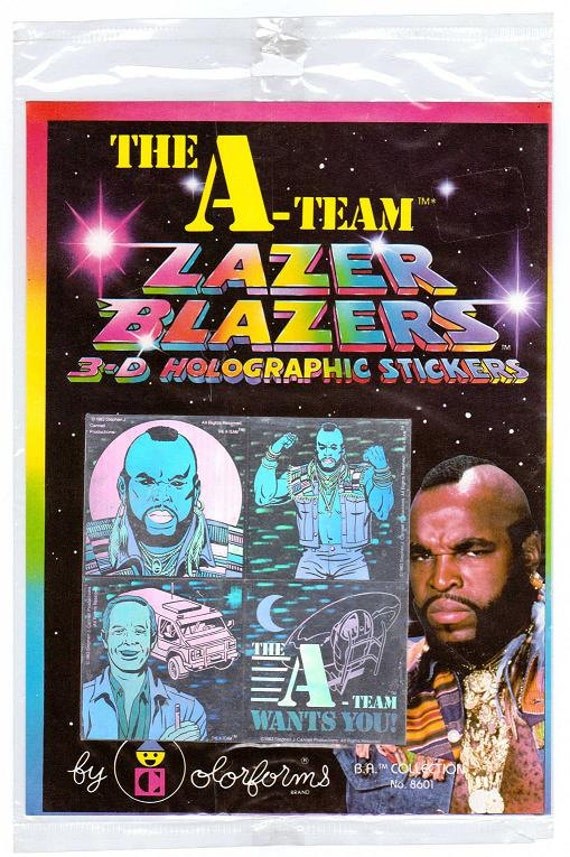 Vintage 1983 A-Team Lazer Blazers by Colorforms 3-D Holographic Stickers NIP